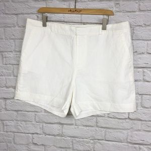 NWOT Banana Republic White Linen Shorts Size 14